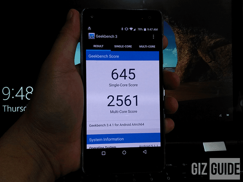 Geekbench result