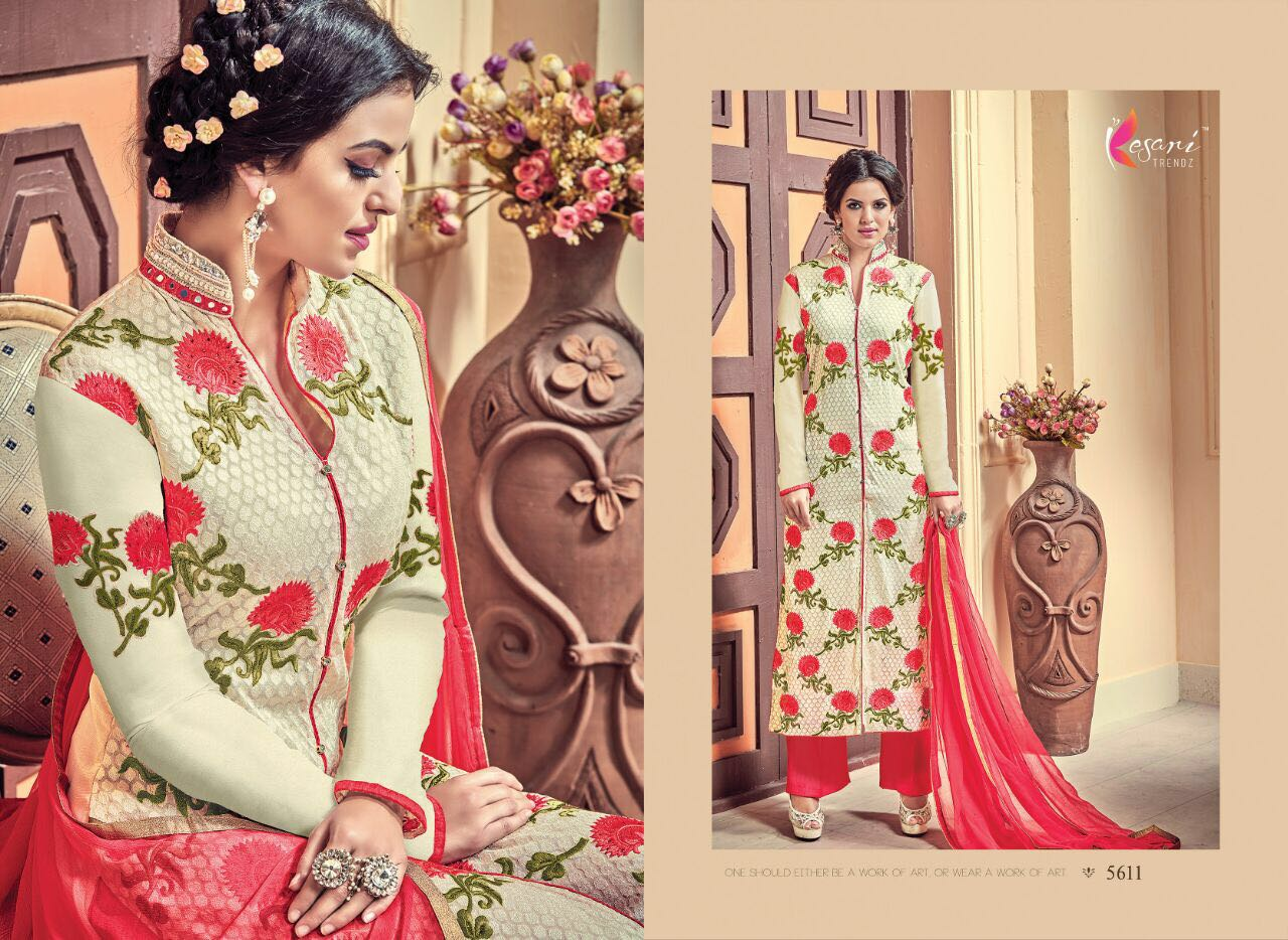 Aarushi 3 – Embroidery Georgette Long Straight Salwar Kameez