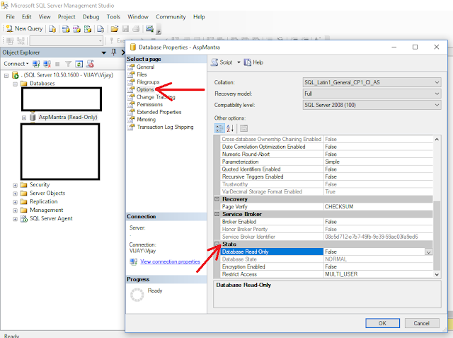 Sql Server: how to change the state of database