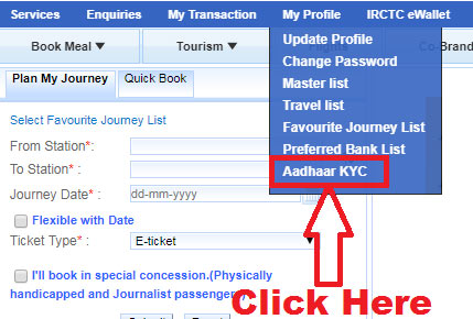 how to link aadhaar card with irctc account