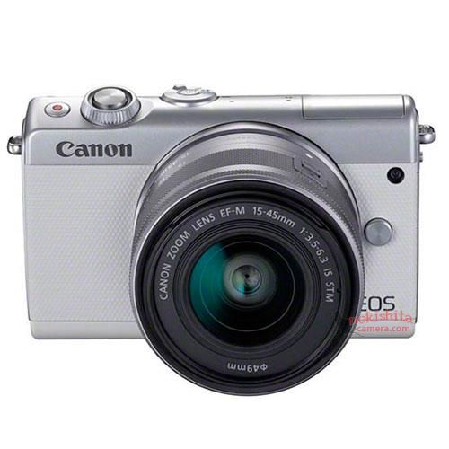 Canon EOS M100, серебристый, вид спереди