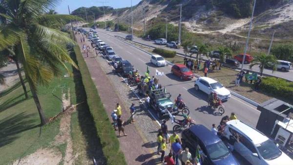 Carreata de Bolsonaro reuniu mais de mil veículos em Natal, segundo organizadores