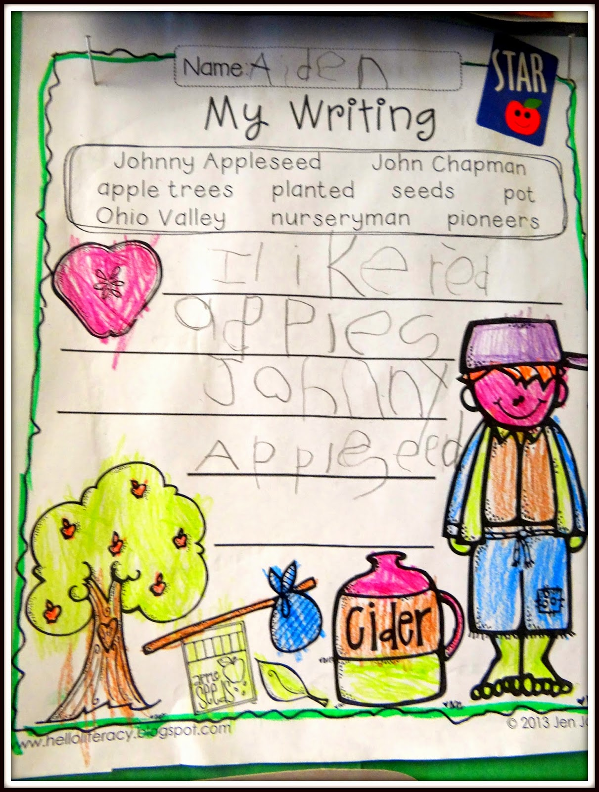 Patties Classroom Johnny Appleseed Art Math And Writing Fun
