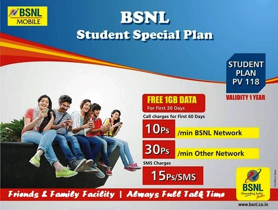 BSNL to extend Student Special plan to all existing customers, Prepaid mobile customers in other plans will be allowed to change their plan to Student Special plan soon