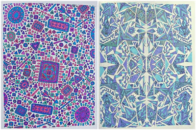 Coloured pages from the Relaxed and Focused Colouring book