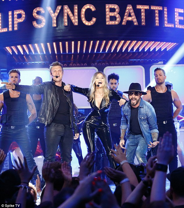 Gigi Hadid wears latex catsuit to perform Larger Than Life with Backstreet Boys on Lip Sync Battle