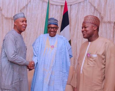 buhari8 - 9JA NEWS: #PMBAt75: Governors, Saraki, Dogara, Tinubu, Well-wishers surprise Buhari on his 75th Birthday