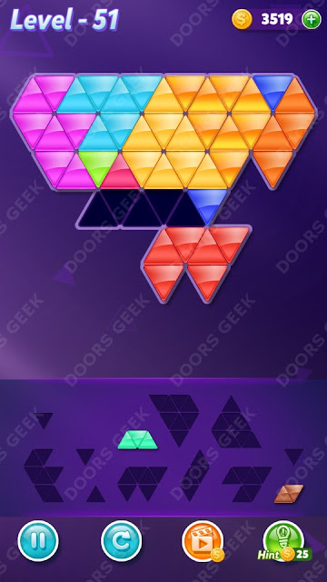 Block! Triangle Puzzle 12 Mania Level 51 Solution, Cheats, Walkthrough for Android, iPhone, iPad and iPod