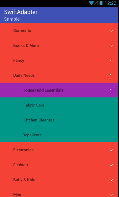 Android: Shopping Navigation List with Three Level