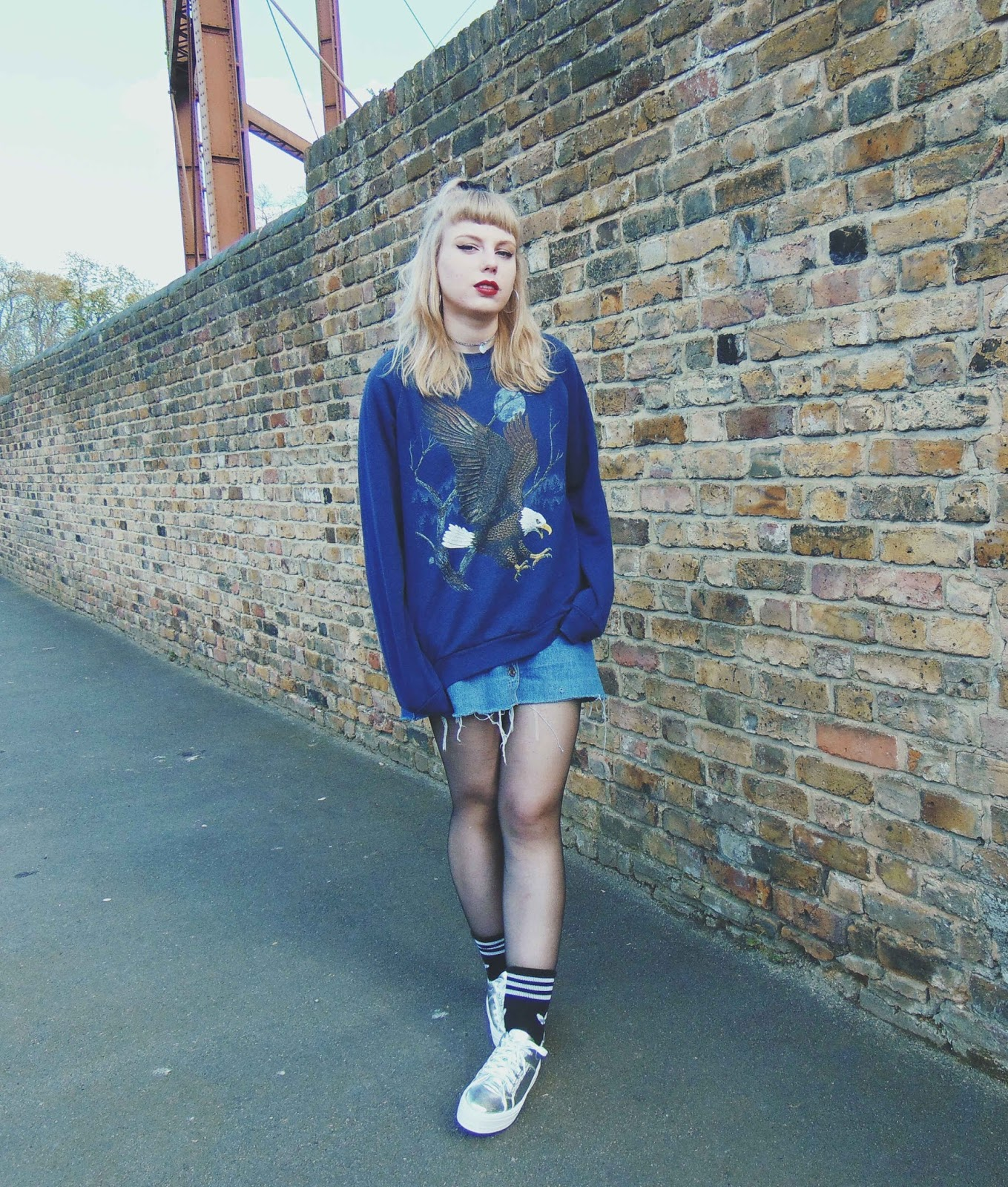 vintage jumper, vintage animal print jumper, button down denim skirt, silver platform trainers, silver flatform shoes, adidas socks, alternative fashion style, 90's outfit ootd