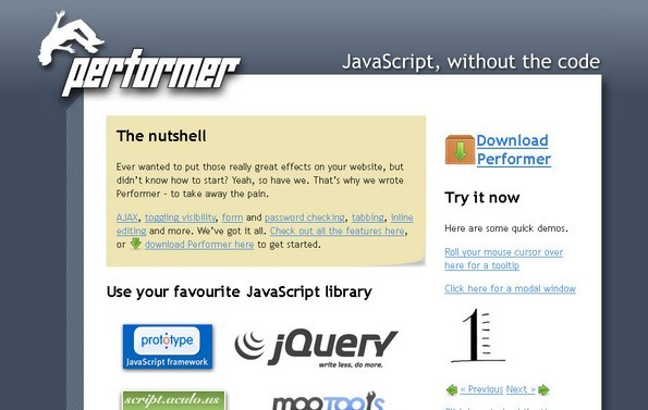Performer CSS & JavaScript Library