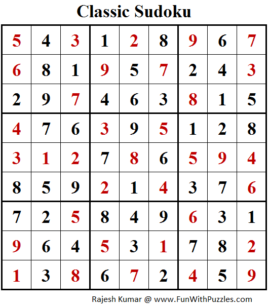 Classic Sudoku Puzzles (Fun With Sudoku #212) Solution