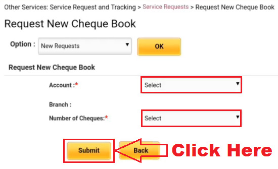 how to request cheque book in pnb online