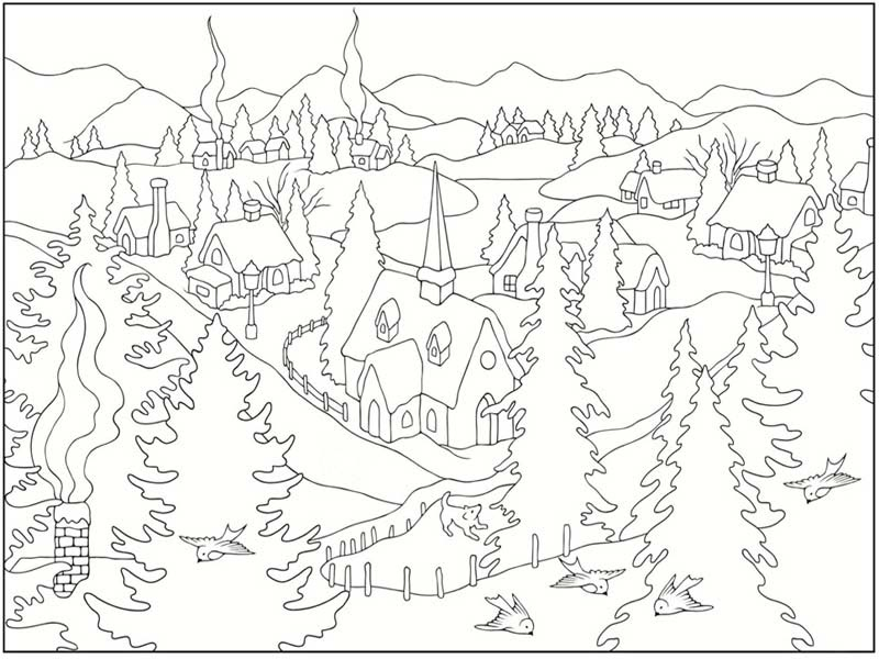 Free Printable Winter Scene Coloring Pages, Download Free Clip Art ... | 600x800