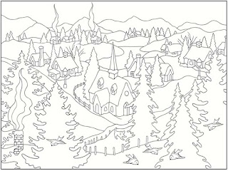 winter scenes free printable coloring pages