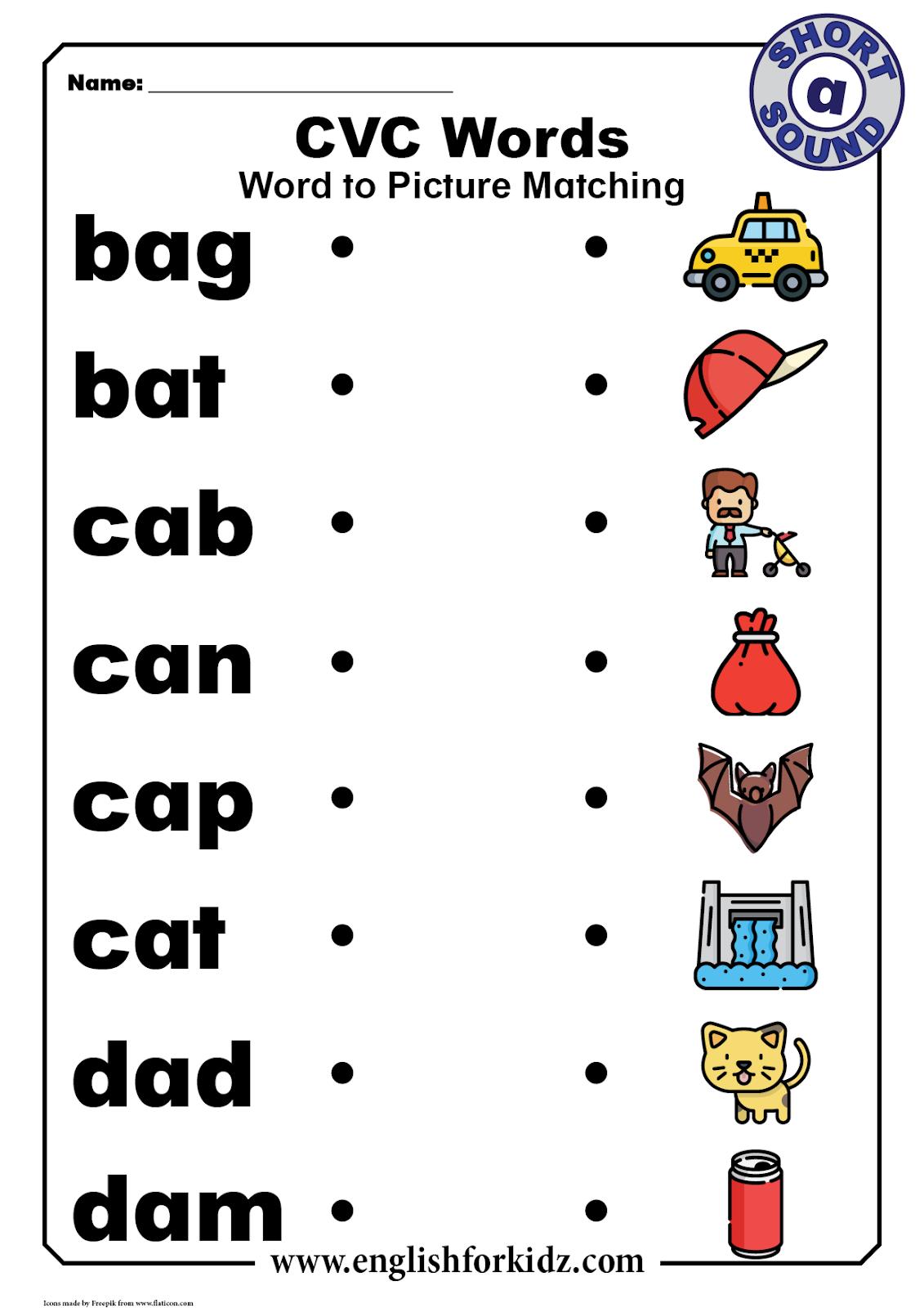 Cvc Words Worksheets Short A Sound