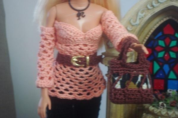 blusa de crochê para Barbie criada por Pecunia MillioM