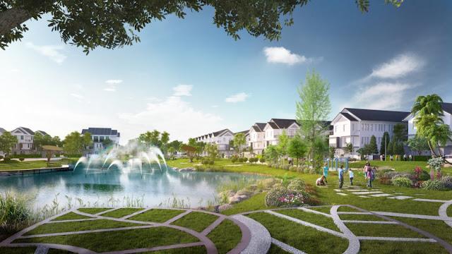 Hồ sinh thái và công viên 2 mặt sông 1,2ha khu Biệt thự - Nhà phố Park River Side quận 9 HCM