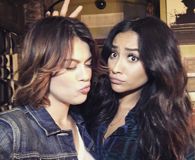 Paily (Emily and Paige) bts Shay Mitchell and Lindsey Shaw filming PLL 7x09