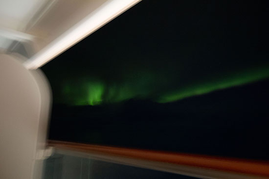 Aurora, from stateroom veranda, off the coast of Greenland, DSLR, 14mm, 10 seconds, Sept. 2017 (Source: Palmia Observatory)