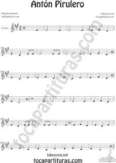 Trompa y Corno Francés Partitura de Antón Pirulero en Mi bemol Sheet Music for French Horn Music Scores