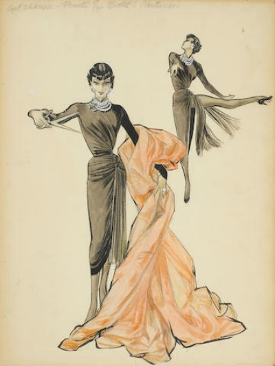 Mary Ann Nyberg Costume Design Sketch for Cyd Charisse in 1953's The Band Wagon