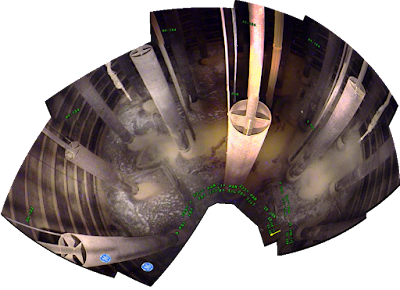 Multiple images pieced together showing panoramic view of Hanford waste tank interior.