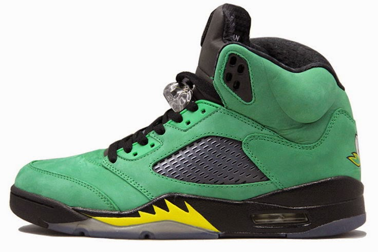 18a2d5309ed9 Air Jordan 5 Oregon Ducks Black Apple Green-Yellow Strike 454803-535