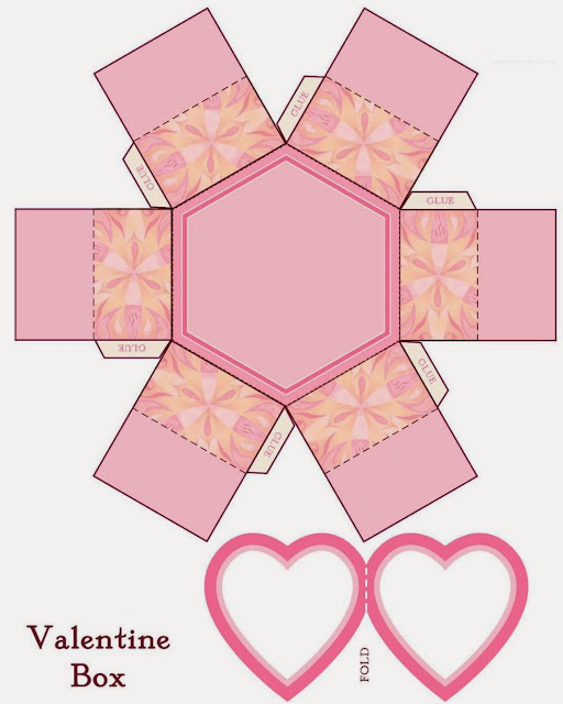 Free Printable Hexagonal Box with Flowers.