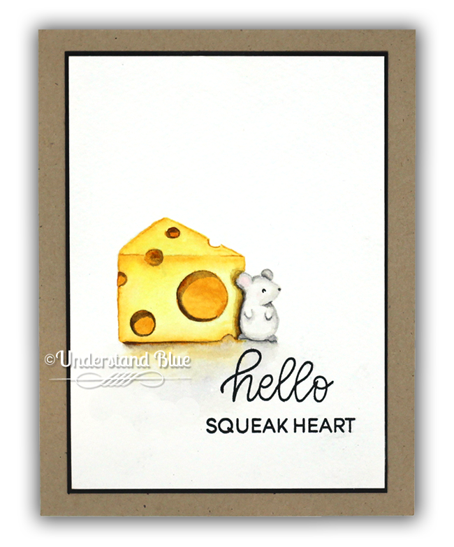 No-line watercolor mouse & cheese card by Understand Blue