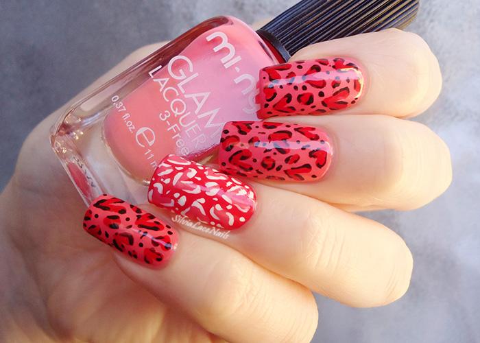 Leopard hearts nail art