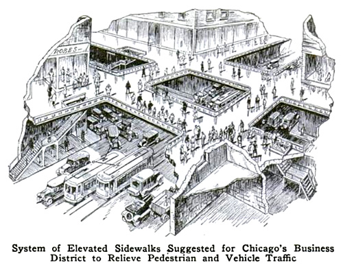 System of elevated sidewalks suggested for Chicago's business district to relive pedestrian and vehicle traffic.