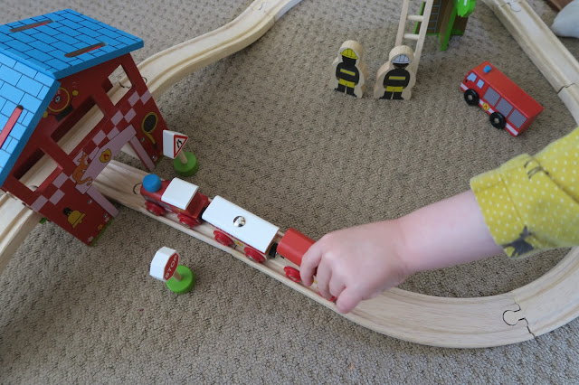playing with the magnetic trains