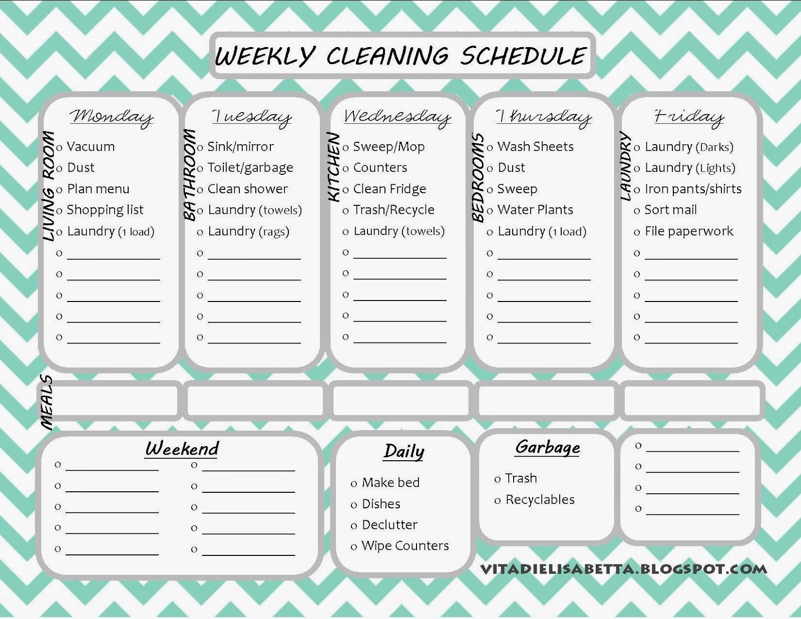 Vita Di Elisabetta List Junkie Weekly Cleaning Schedule