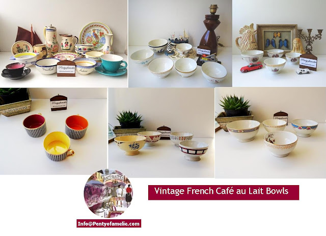 vtg french coffee bowls in various sizes, dating of mid century made of ceramic, hand painted faience, fine limoges porcelain and manufactured in france