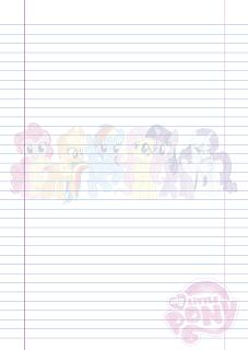 Folha Papel Pautado My Little Poney rabiscado em PDF para imprimir na folha A4