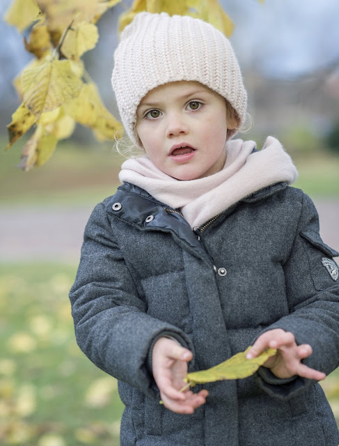 "Princess Estelle of Sweden was photographed in the garden at Haga Palace. ""Autumn Greetings from Haga"""