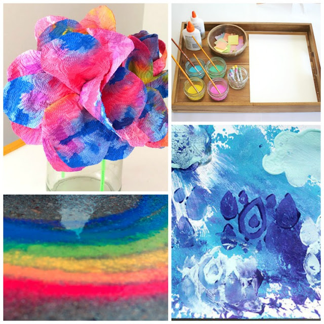 Spring Process Art- Great collection of 20 ideas for spring process art for toddlers, preschoolers, kindergartners, and elementary kids. You'll find painting, stamping, collages, sculpture, and more.  Make flowers, bugs, rainbows, and butterflies!