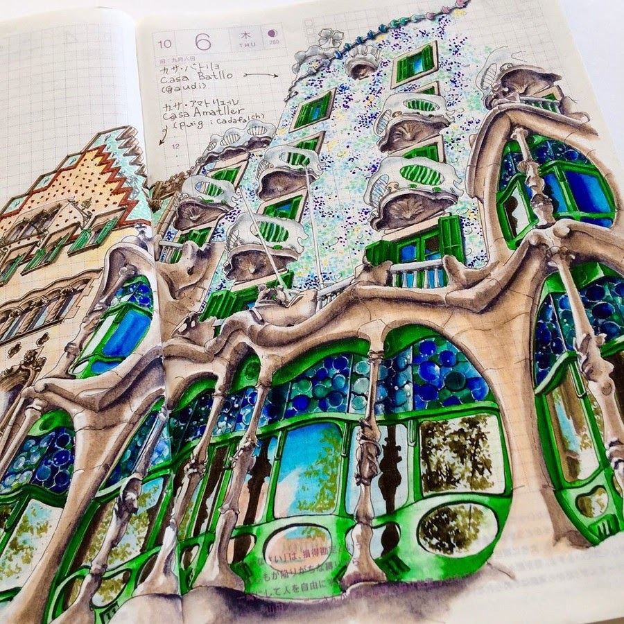 07-Casa-Batlló-Rihiko-Architectural-Travel-Drawings-and-Painting-www-designstack-co