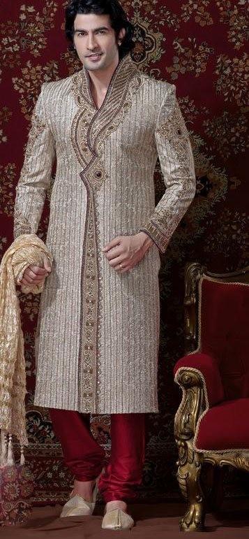 Cream & Red Banarsi Cotton Silk Sherwani With Churidar