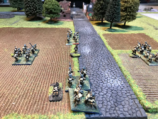 British infantry advancing in artillery formation