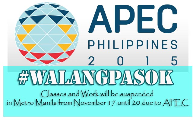 Classes and Work will be suspended in Metro Manila from November 17 until 20 due to APEC