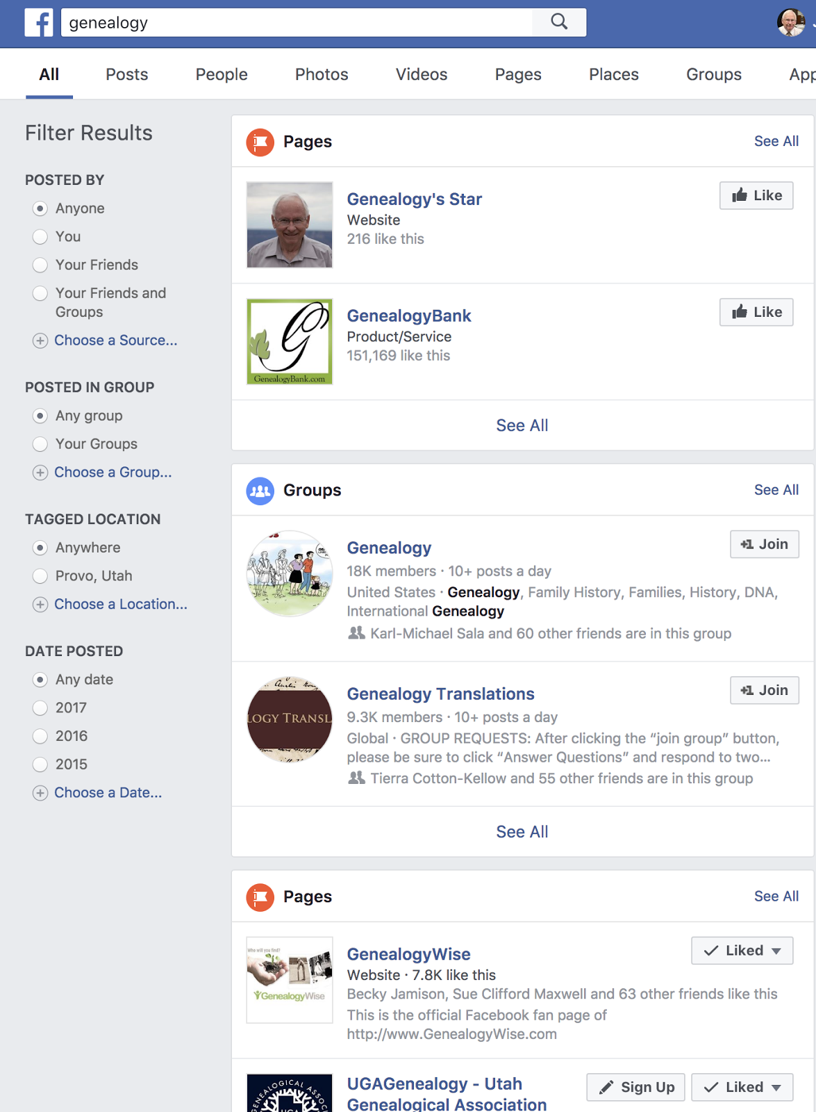 Genealogy's Star: Visiting Facebook Genealogy