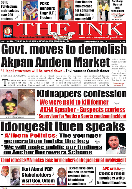 Latest Edition of THE INK NEWSPAPER, Uyo, Akwa Ibom State