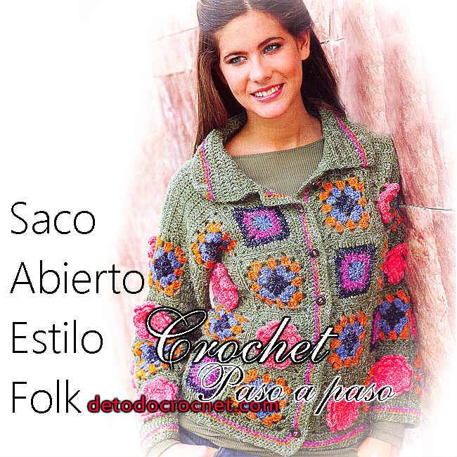 Tutorial saco crochet tejido con cuadros y flores