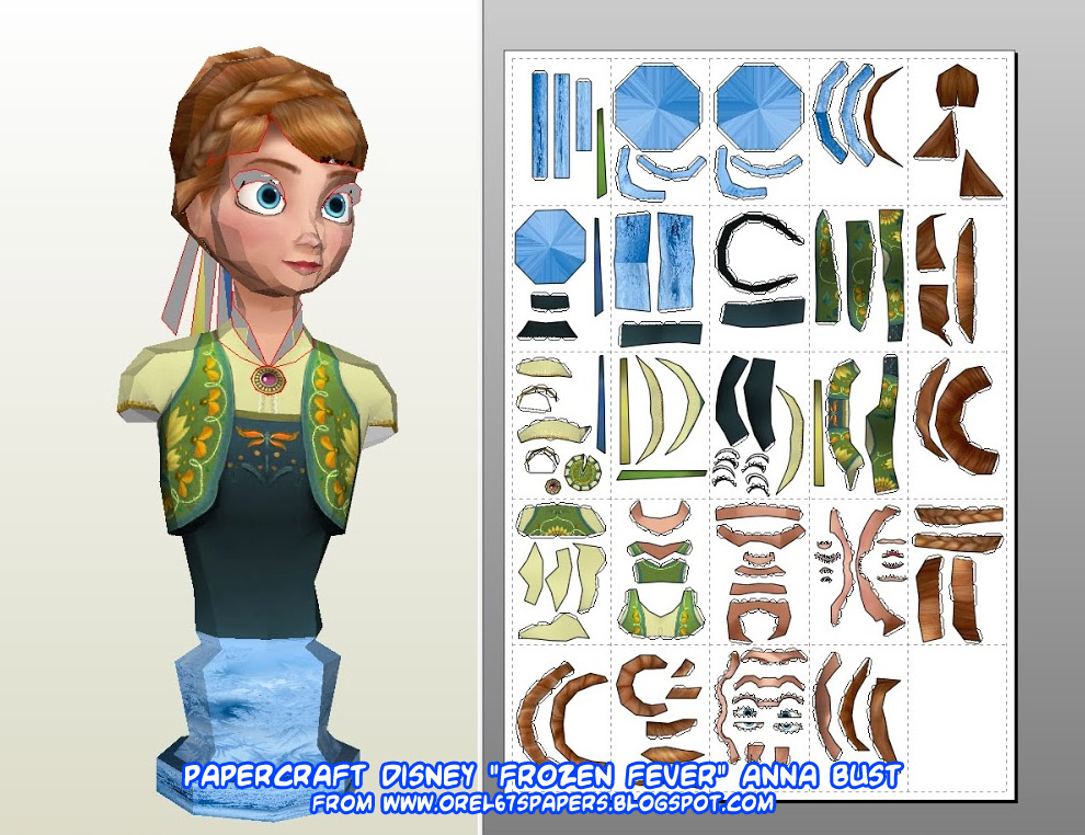 Papercraft Frozen Fever Anna Summer Bust