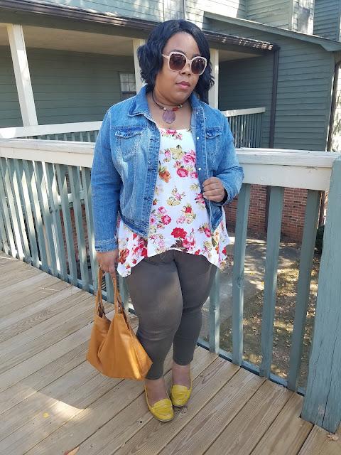 floral blouse, olive skinnies, camel handbag, mustard loafers, denim jacket
