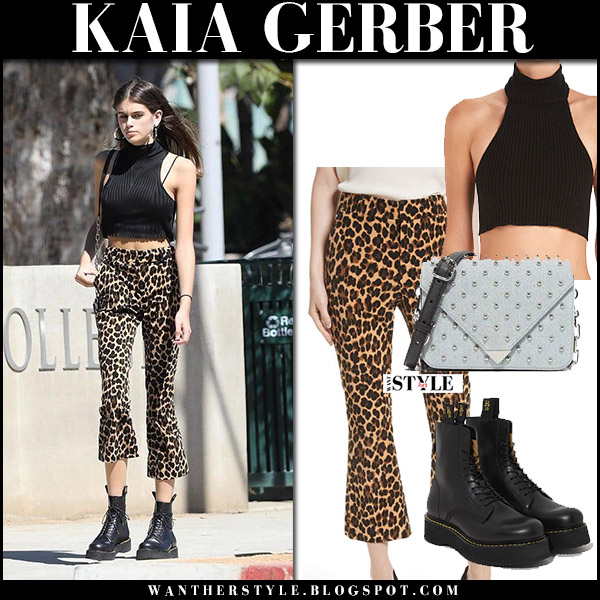 Kaia Gerber in black crop top, leopard print frame pants and black combat boots r13 model street style october 7 2017 fall fashion