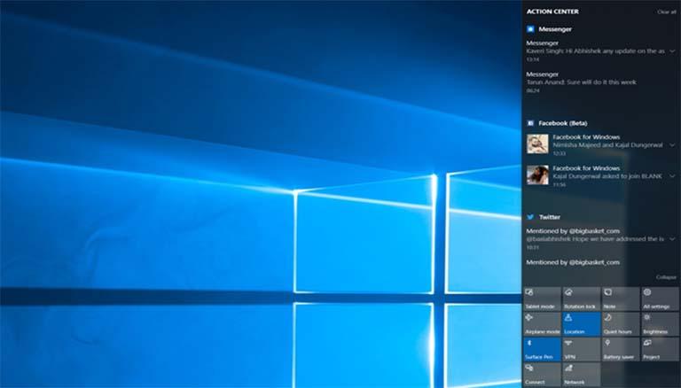 Akhirnya Microsoft Memperbaiki Masalah Bug Action Center Pada Windows 10