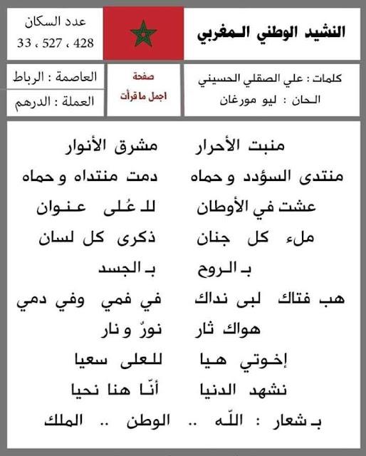 النشيد الوطني لبعض الدول العربية في صور